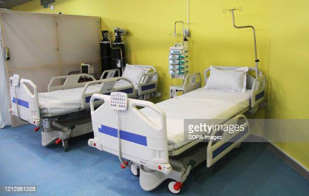 Hospital beds seen during the inauguration. The first emergency hospital for patients of Covid-19 installed in the sports city of El-Menzah was...