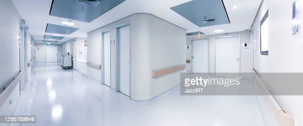 hospital corridor - panoramic stock pictures, royalty-free photos & images