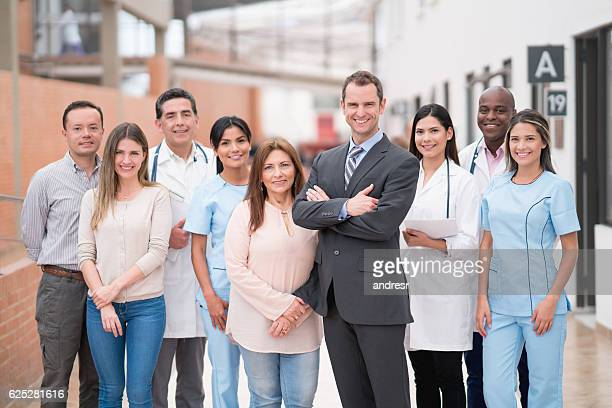 Hospital manager with a group of people