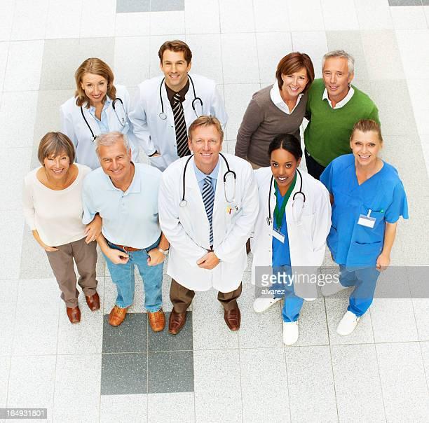 Hospital Menschen gesehen von oben
