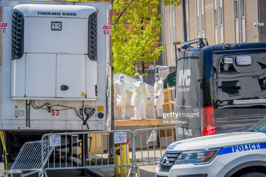Hospital personnel seen pictured behind a barricade as they... : News Photo