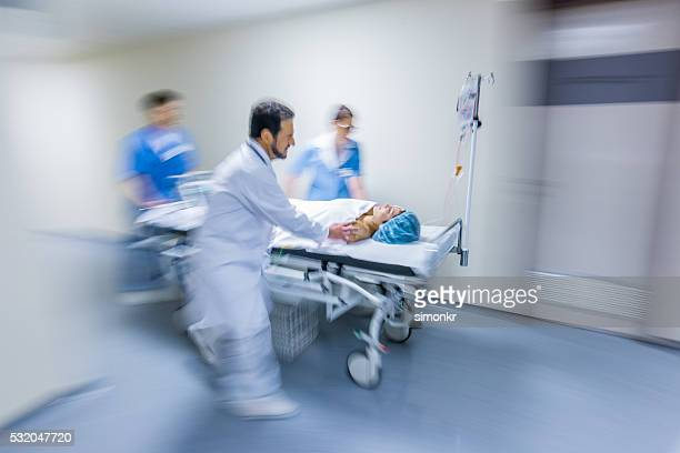 Hospital staff rushing patient