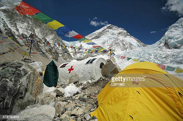 Hospital tent in Everest Base Camp. Nepal Himalayas.