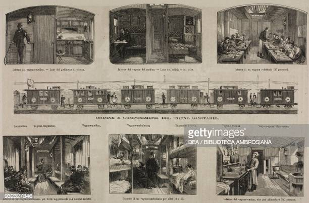 Hospital train sent to wounded soldiers by the French relief company illustration from Album della Esposizione Universale di Vienna No 12 1873