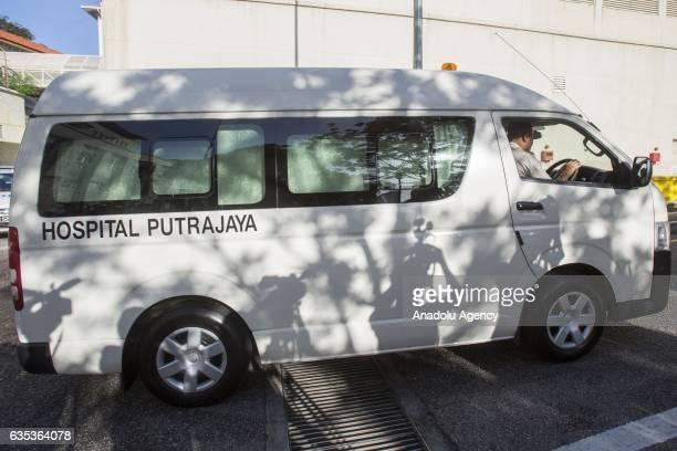 A hospital van exiting the Forensic Department of the Putrajaya Hospital outside Kuala Lumpur on February15 2017 45yearold Kim Jongnam was...