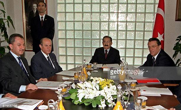 Hospitalized Turkish Prime Minister Bulent Ecevit meets with his deputies Mesut Yilmaz Husamettin Ozkan and Devlet Bahceli in Ankara's Baskent...