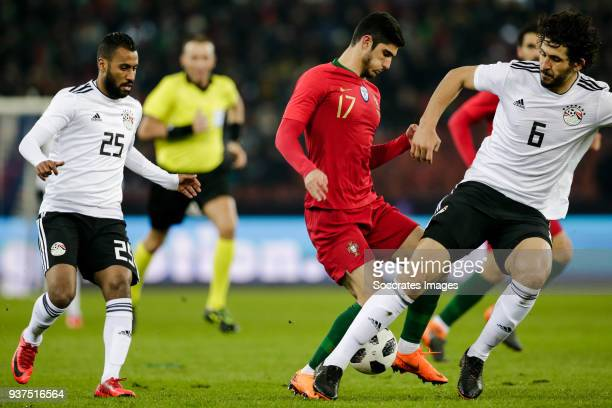 Hossam Ashour of Egypt Goncalo Guedes of Portugal Ahmed Hegazy of Egypt during the International Friendly match between Egypt v Portugal at the...