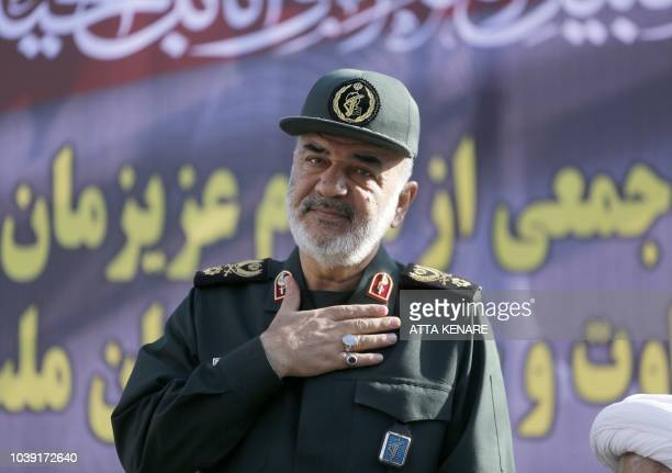 Hossein Salami deputy commander of the Islamic Revolutionary Guard Corps attends a public funeral ceremony for those killed during an attack on a...