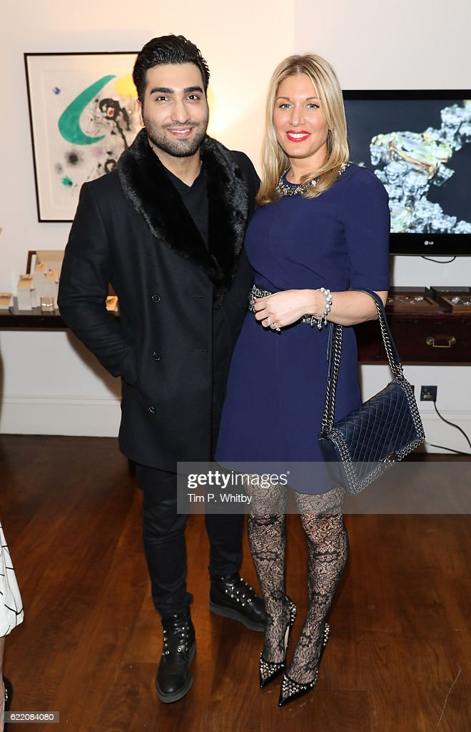 Hossein Tohi and Hofit Golan attend an afternoon tea hosted by Damiani in aid of Nadedza Foundation at Morton's Club on November 9, 2016 in London, England.