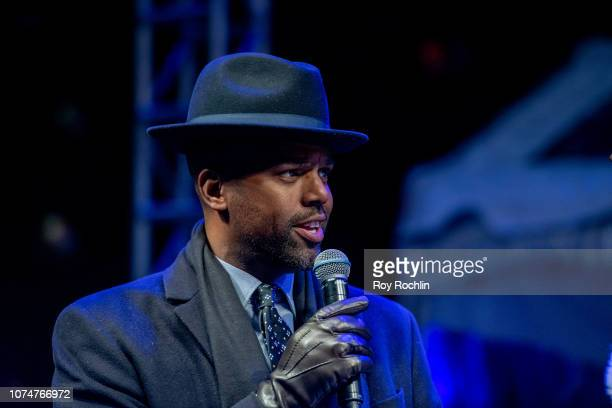 Host A J Calloway on stage as the New York Stock Exchange Celebrates 95th Annual Christmas Tree lighting at the at New York Stock Exchange on...