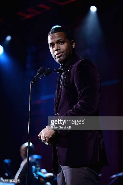 Host A J Calloway speaks onstage at the Super Bowl Gospel Celebration 2014 at The Theater at Madison Square Garden on January 31 2014 in New York City