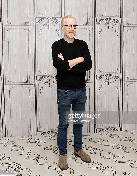Host Adam Savage talks about the final season of the hit show 'Mythbusters' during AOL Build at AOL Studios In New York on March 1 2016 in New York...