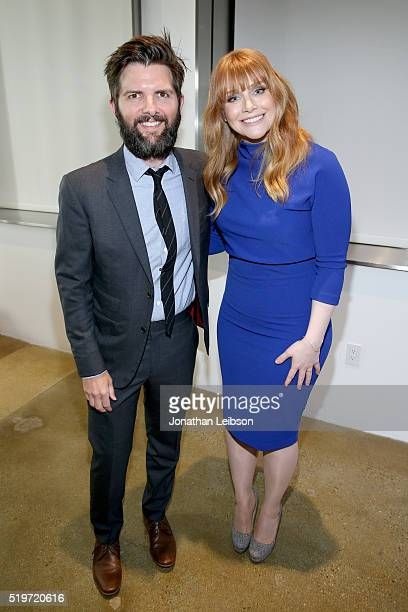 Host Adam Scott and actress Bryce Dallas Howard attend the 5th Annual Reel Stories Real Lives event benefiting MPTF at Milk Studios on April 7 2016...