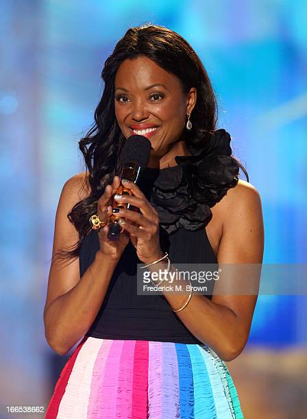 Host Aisha Tyler speaks onstage during the 2013 NewNowNext Awards at The Fonda Theatre on April 13, 2013 in Los Angeles, California.
