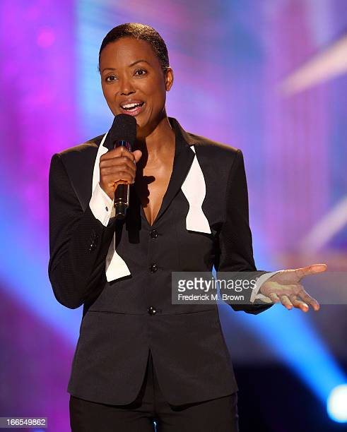 Host Aisha Tyler speaks onstage during the 2013 NewNowNext Awards at The Fonda Theatre on April 13 2013 in Los Angeles California