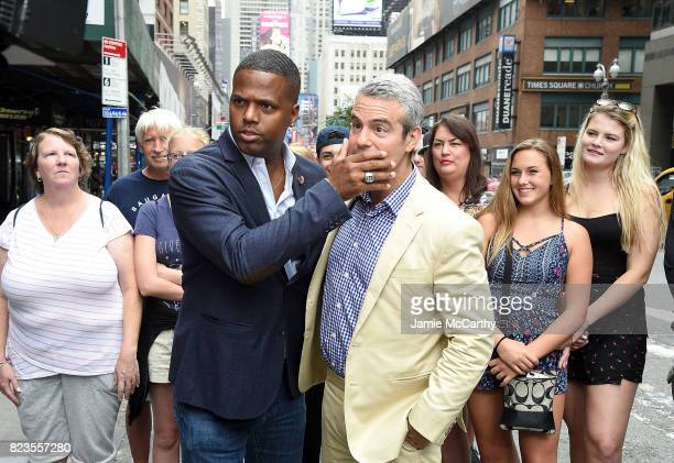 Host AJ Calloway interviews Andy Cohen durng his visit with 'Extra' on July 27 2017 in New York City