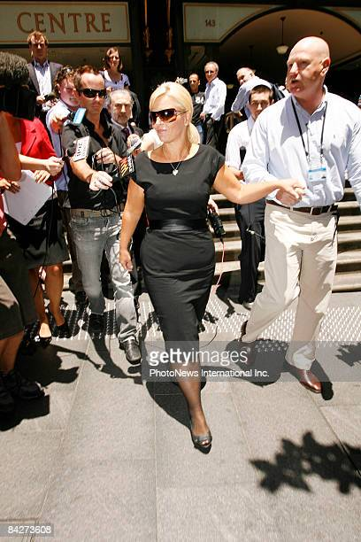 TV host Ajay Rochester leaves the Downing Centre Local Court following her sentencing on fraud charges January 14 2009 in Sydney Australia Rochester...