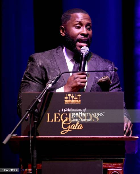 Host Akintunde Warnock speaks onstage during NMAAM Celebration of Legends Galaon May 31 2018 in Nashville Tennessee