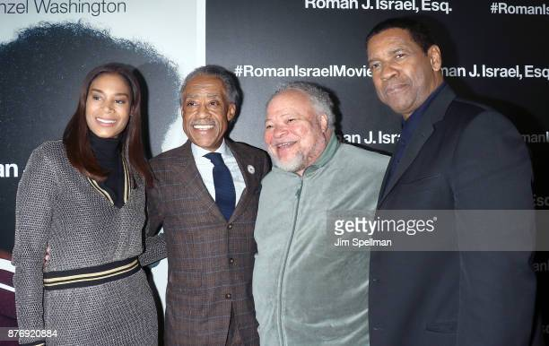 TV host Al Sharpton actors Stephen Henderson and Denzel Washington attend theRoman J Israel Esquire New York premiere at Henry R Luce Auditorium at...