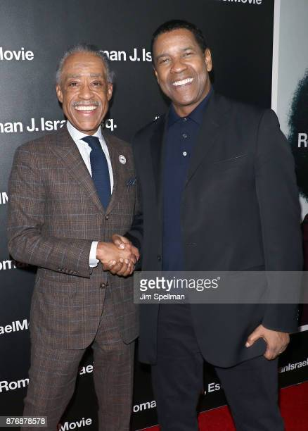 TV host Al Sharpton and actor Denzel Washington attend theRoman J Israel Esquire New York premiere at Henry R Luce Auditorium at Brookfield Place on...