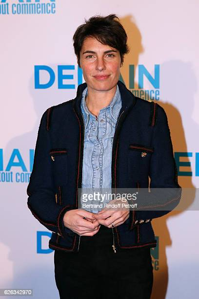 Host Alessandra Sublet attends the Demain Tout Commence Paris Premiere at Cinema Le Grand Rex on November 28 2016 in Paris France