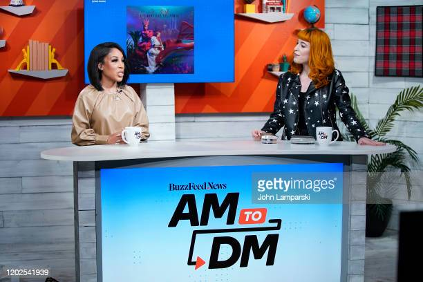 """Host Alex Berg interviews K. Michelle during BuzzFeed's """"AM To DM"""" on January 28, 2020 in New York City."""