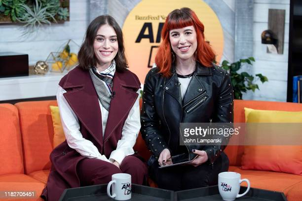 "Host Alex Berg interviews Lizzy Caplan during BuzzFeed's ""AM To DM"" on October 22, 2019 in New York City."