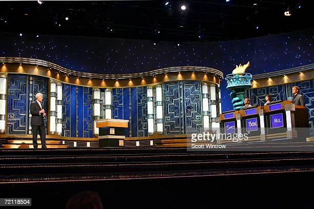 Host Alex Trebek, actors James Denton, Bebe Neuwirth and Neil Patrick Harris during a rehearsal for Celebrity Jeopardy at Radio City Music Hall on...