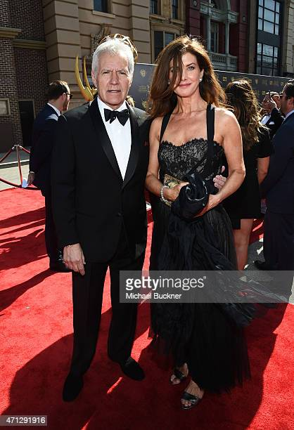 TV host Alex Trebek and Jean Currivan Trebek attend The 42nd Annual Daytime Emmy Awards at Warner Bros Studios on April 26 2015 in Burbank California