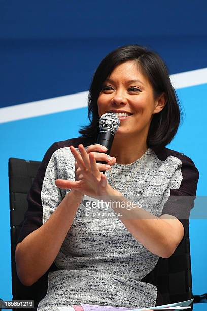 MSNBC host Alex Wagner moderates a panel discussion on human trafficking during the Clinton Global Initiative University at Washington University on...