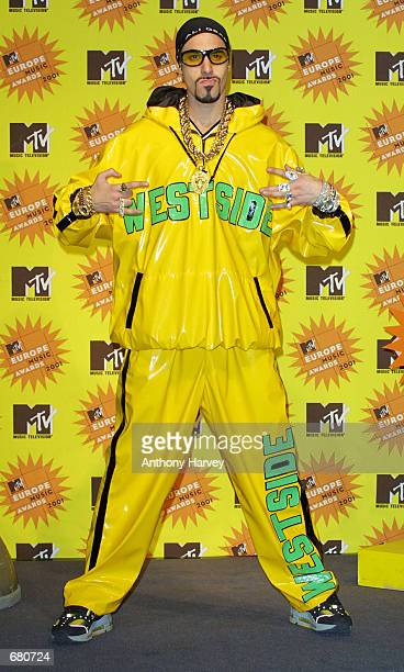 Host Ali G poses backstage at the MTV Europe Music Awards November 8 2001 in Frankfurt Germany