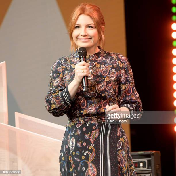 Host Alice Levine on stage during the Music Industry Trust Awards 2018 at Grosvenor House on November 05 2018 in London England