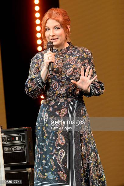 Host Alice Levine speaks on stage during the Music Industry Trust Awards 2018 at Grosvenor House on November 05 2018 in London England