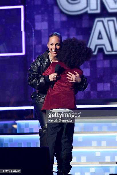 Host Alicia Keys and RaifHenok Emmanuel Kendrick speak onstage during the 61st Annual GRAMMY Awards at Staples Center on February 10 2019 in Los...