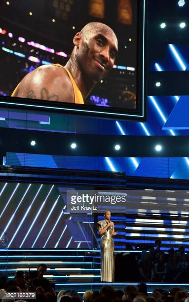Host Alicia Keys speaks in tribute to the late Lakers player Kobe Bryant onstage during the 62nd Annual GRAMMY Awards at Staples Center on January 26...