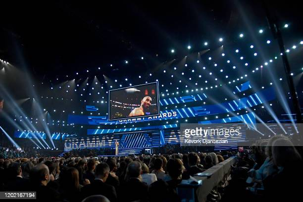 Host Alicia Keys speaks onstage about Kobe Bryant during the 62nd Annual GRAMMY Awards at Staples Center on January 26 2020 in Los Angeles California