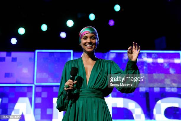 Host Alicia Keys speaks onstage during the 61st Annual GRAMMY Awards at Staples Center on February 10 2019 in Los Angeles California