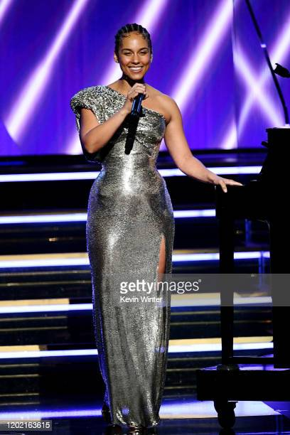Host Alicia Keys speaks onstage during the 62nd Annual GRAMMY Awards at STAPLES Center on January 26 2020 in Los Angeles California