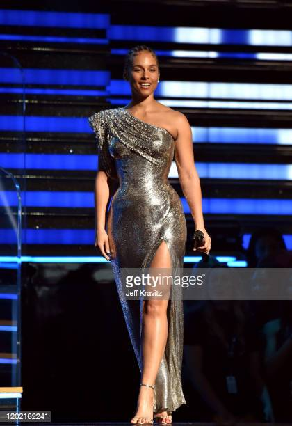 Host Alicia Keys walks onstage during the 62nd Annual GRAMMY Awards at Staples Center on January 26 2020 in Los Angeles California