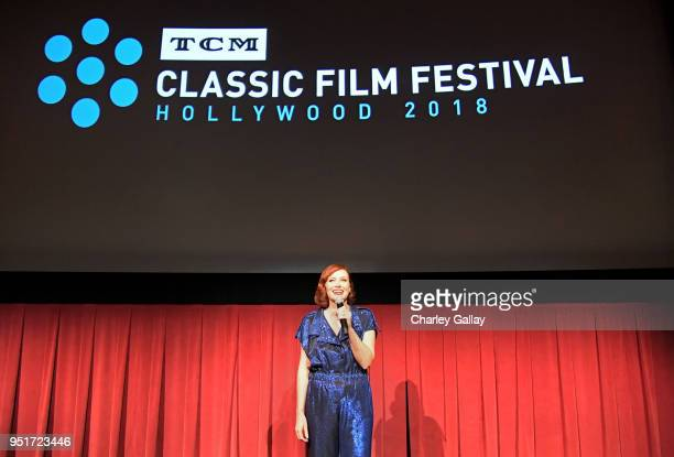 Host Alicia Malone speaks onstage during the screening of Throne of Blood during Day 1 of the 2018 TCM Classic Film Festival on April 26 2018 in...