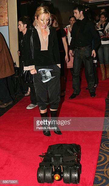 TV host Amber Petty best friend of Princess Mary of Denmark attends the Australian premiere of 'Batman Begins' at the George Street Cinemas on June...