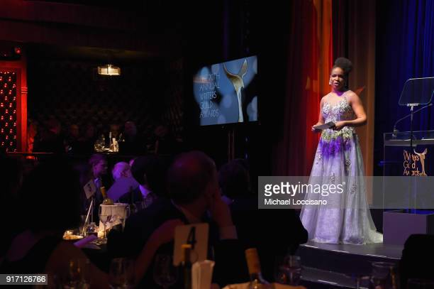 Host Amber Ruffin speaks onstage during the 70th Annual Writers Guild Awards New York at Edison Ballroom on February 11 2018 in New York City