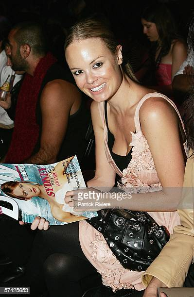 TV host Amy Erbacher attends the Charlie Brown collection show in the Overseas Passenger Terminal during Mercedes Australian Fashion Week on April 26...