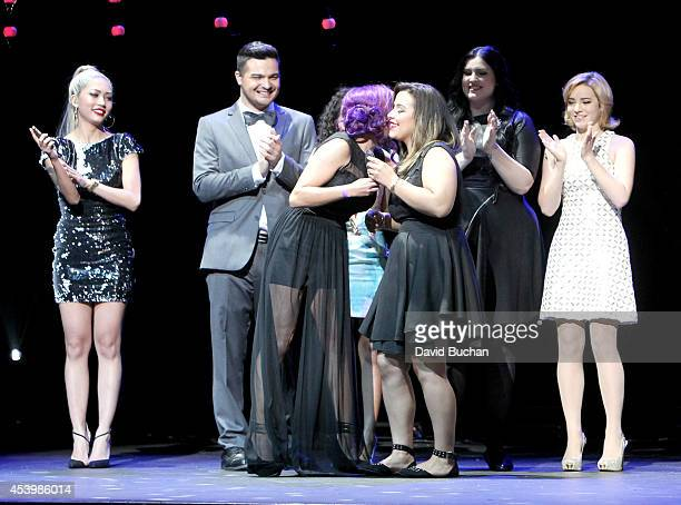 Host Amy Pham finalist Alex Rivera previous winner Charis Lincoln finalists Ashley Marie Bailey Van Der Veen and Erin Timony attend NYX FACE Awards...