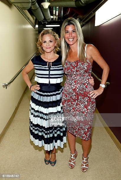 Host Amy Sedaris and CLIO Awards President Nicole Purcell pose backstage at the CLIO Key Art Awards 2016 at Dolby Theatre on October 20 2016 in...