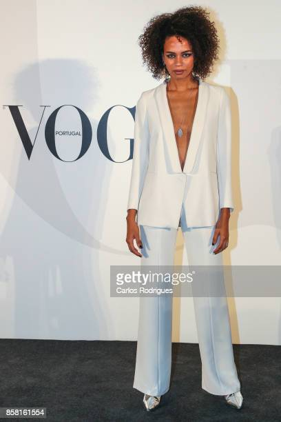 Host Ana Sofia attends the Vogue Portugal Party Photocall on October 5 2017 in Lisbon Portugal