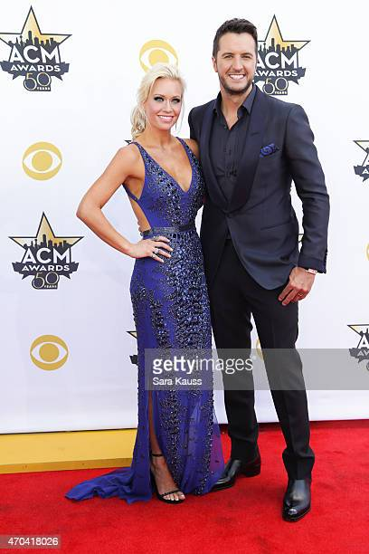Host and ACM Entertainer of the Year Luke Bryan and wife and Caroline Boyer attend the 50th Academy of Country Music Awards at ATT Stadium on April...