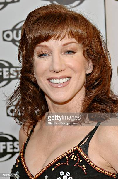 Host and actress Kathy Griffin arrives at the Outfest 2005 Awards Night on July 17 2005 at the John Anson Ford Amphitheatre in Los Angeles California
