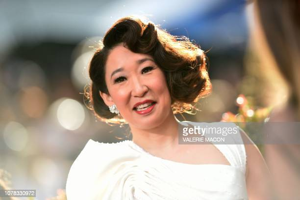 TOPSHOT Host and Best Performance by an Actress in a Television Series Drama for Killing Eve nominee Sandra Oh arrives for the 76th annual Golden...