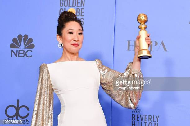 Host and Best Performance by an Actress in a Television Series Drama 'for Killing Eve' winner Sandra Oh poses in the press room during the 75th...